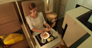 Etihad Airways Business Class meal service.