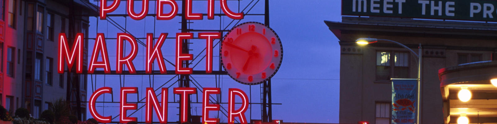 The iconic Public Market Place neon sign at the Pike Place Markets in Seattle