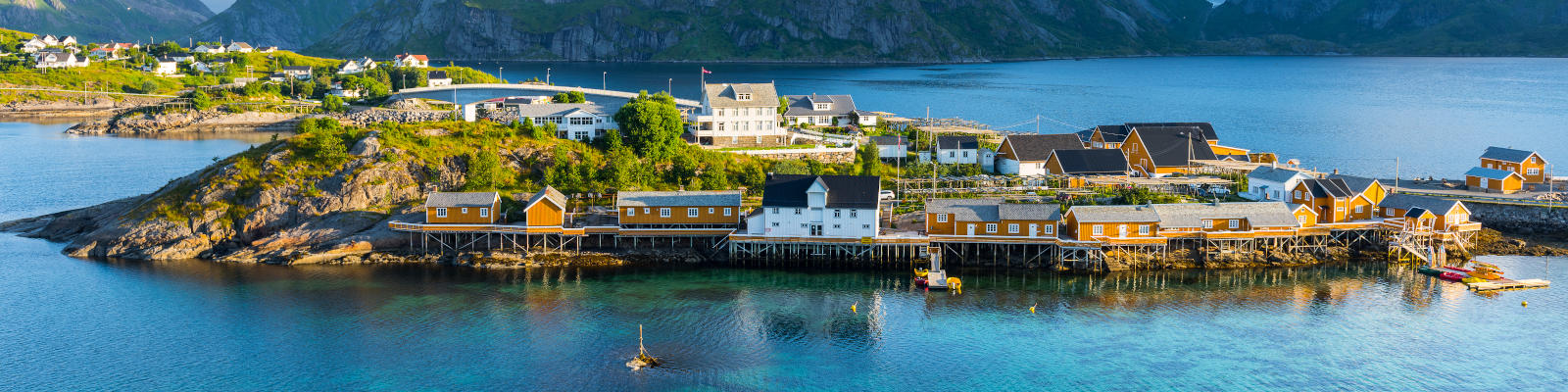 Seaside town in Norway with colourful houses