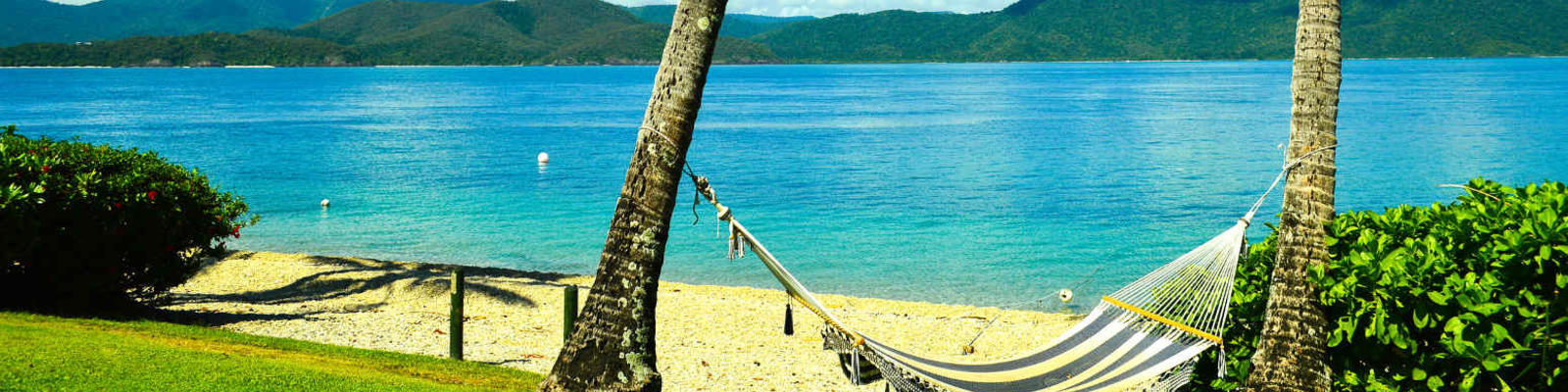 A hammock slung between two trees on Daydream Island, Queensland.