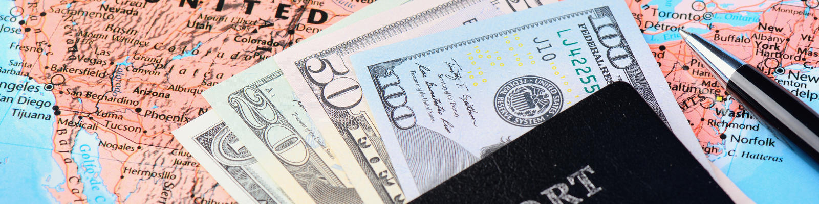 American cash and passport