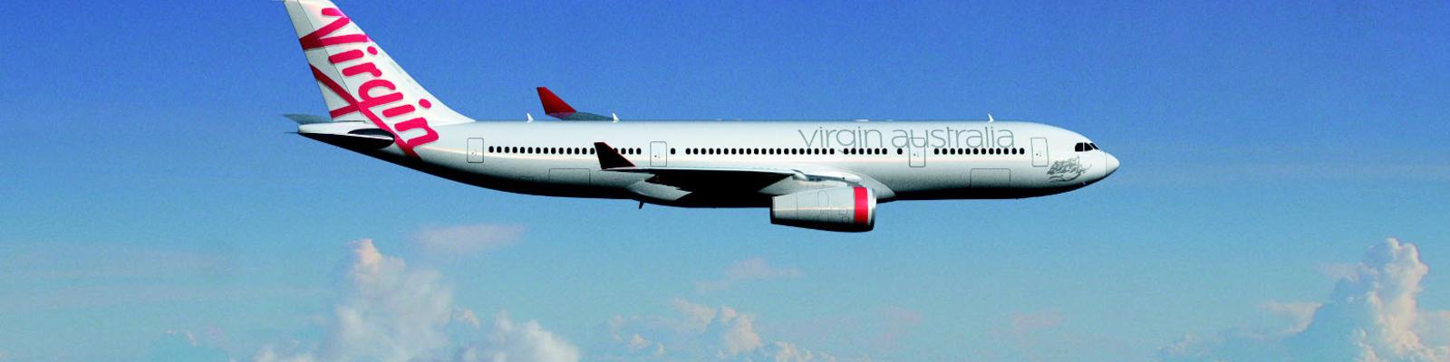 Virgin Australia plane in the sky.