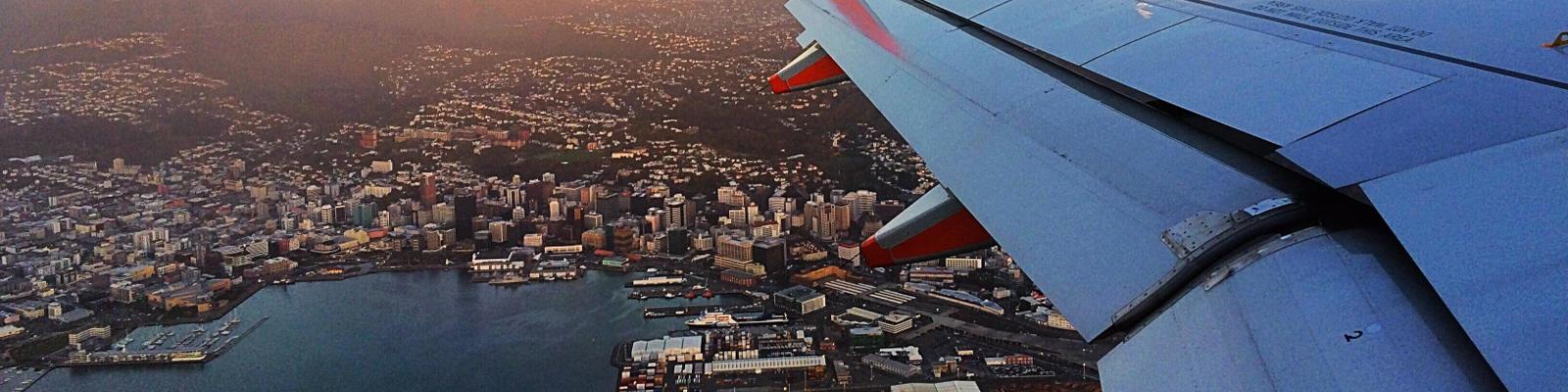 Plane flying in over Wellington.