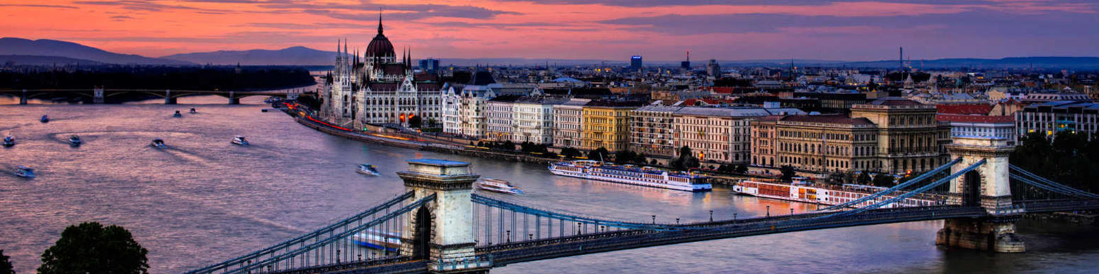 river danube and budapest at sunset