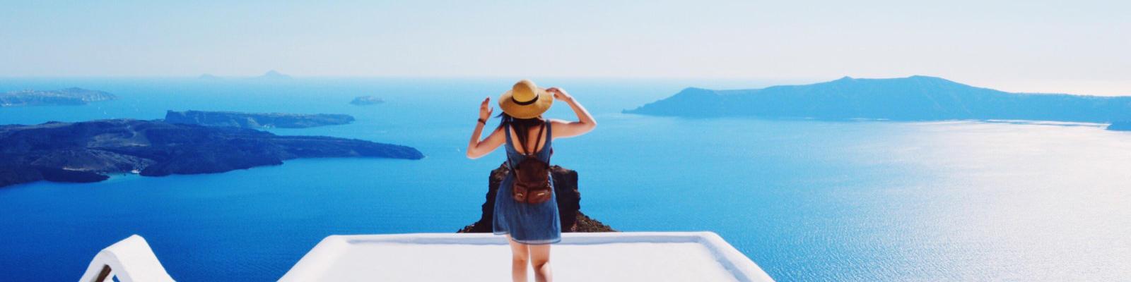 Girl in white village in greece