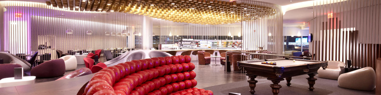 An interior view of the Virgin first class lounge in New York