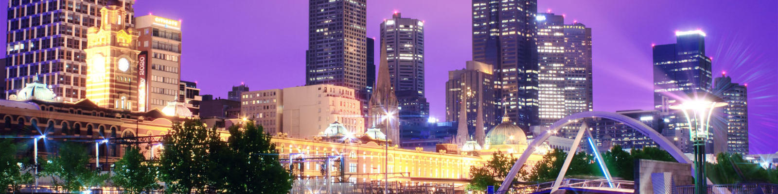 A view of Melbourne over the river at night
