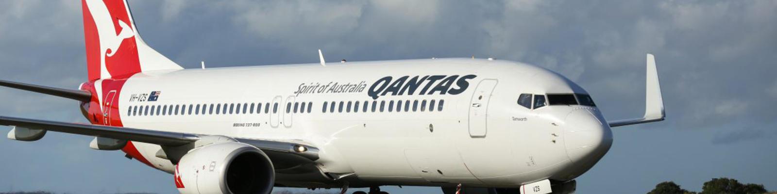 A Qantas aircraft on the runway