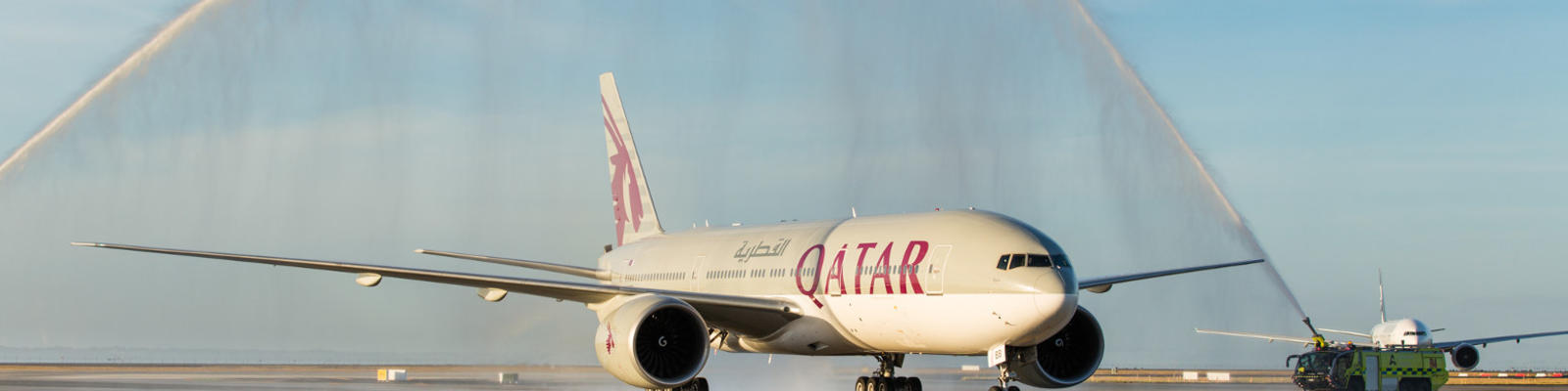 Qatar Airways Boeing 777 at Auckland Airport.