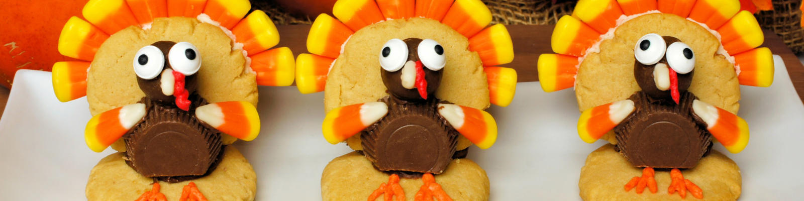 A row of candy and cookie turkeys