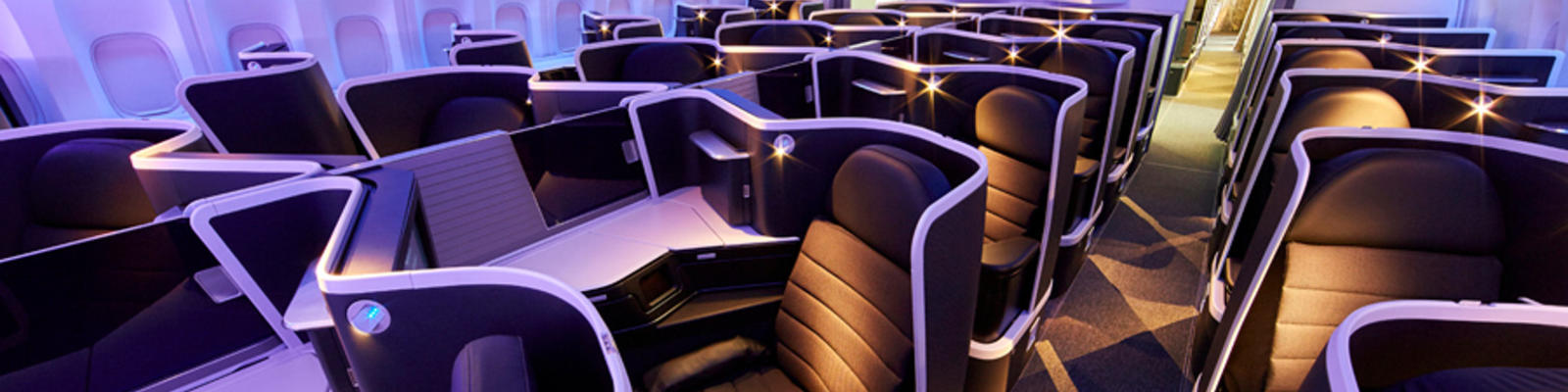 A look down the aisle of the new business class seats on Virgin Australia
