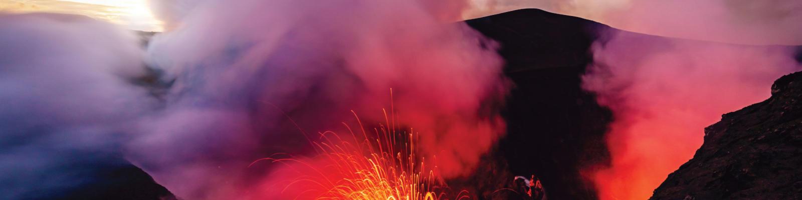 Mount Yasur with lava