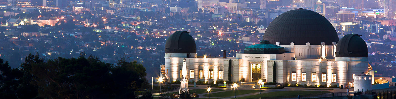 griffith observatory in LA against the skyline at sunset