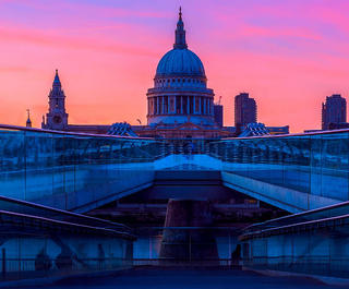 St Paul's Cathedral and the Millennium Bridge in London. Image: Getty