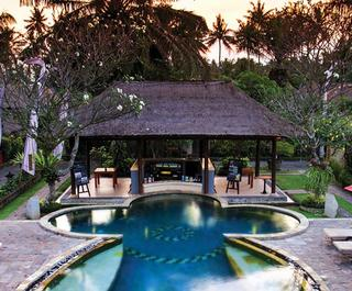 bali holidays poolside villa at sunset