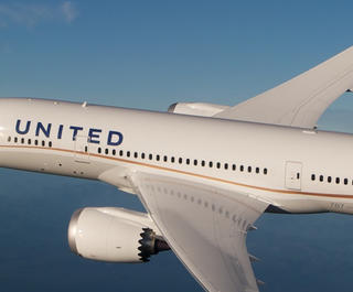 United Airlines' Dreamliner 787-9 in the sky. Image: Courtesy.