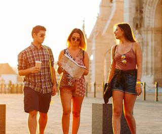 Three friends travelling Budapest, Europe.