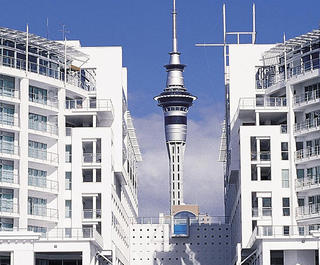 auckland hilton with skytower behind