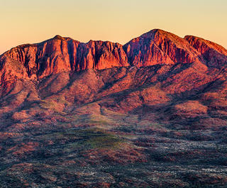 Mt Sonder in the the West McDonnell Ranges seen at sunrise