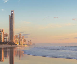 gold coast beach and skyline at sunrise