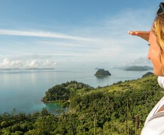 Caucasian female contemplating spectacular view from Island