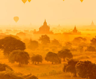 sunrise over temples myanmar