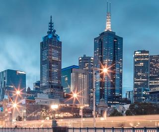 Melbourne city at night