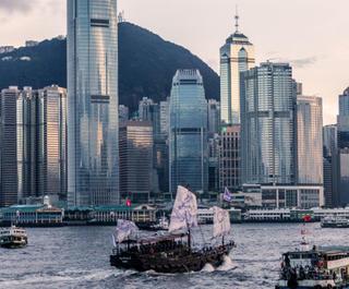 hong kong skyline from water