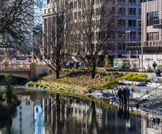 Avon river and streetscape central christchurch