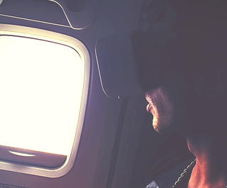 virtual reality on an airplane