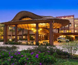 Exterior view of the new Disney Explorers Lodge at Hong Kong Disneyland.