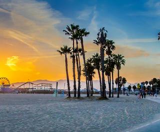 LA's Venice Beach, with Santa Monica Pier in the distance.