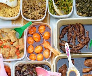 Flat lay of Malaysian street food