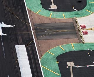 aerial view plane on runway