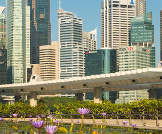 Business people outside against Singapore skyline.