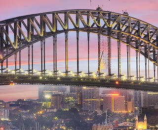 Sydney Harbour Bridge twinkles with lights at sunrise - Sydney spots to inspire creativity