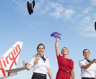 Virgin Australia staff celebrate.