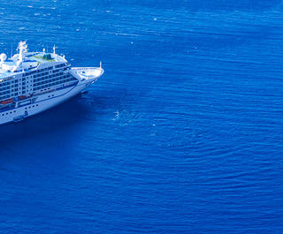 cruise ship in blue ocean
