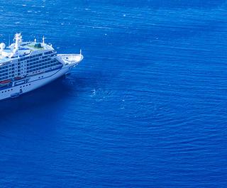 cruise ship in blue ocean