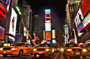 Taxis on Times Square at night