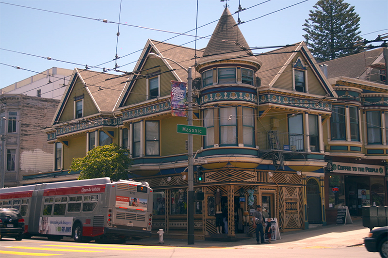A street view of iconic Masonic Avenue in Haight-Ashbury.