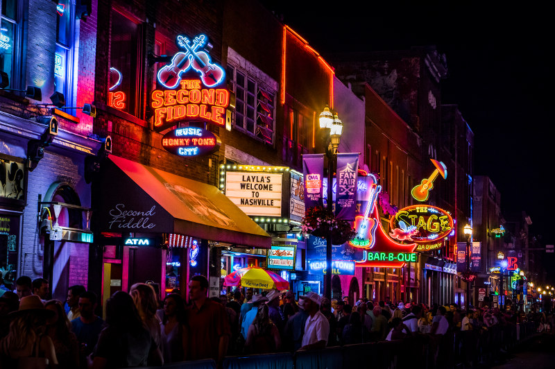 Neon signs call to late-night revellers in Nashville, Tennessee.