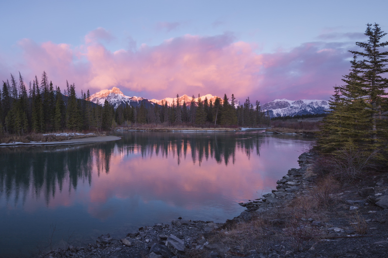 Sunrise over the Bow River, Canmore