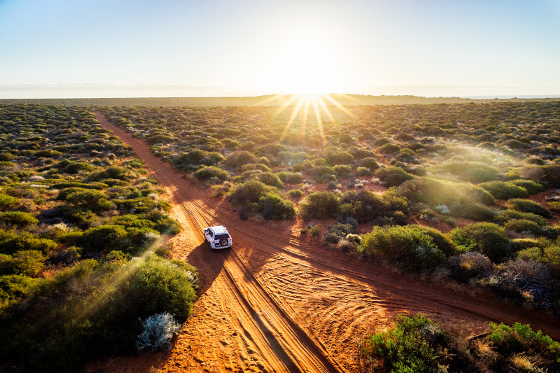car driving off road in outback australia