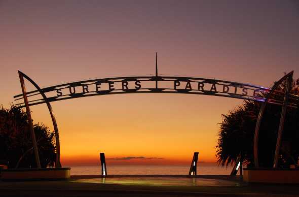 The Surfers Paradise sign looking out to the ocean