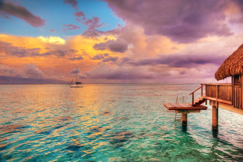 Sunset in Tahiti over the ocean