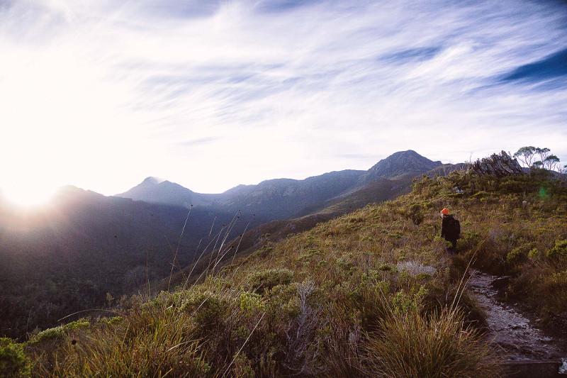 mount eliza trail tasmania girl and mountains