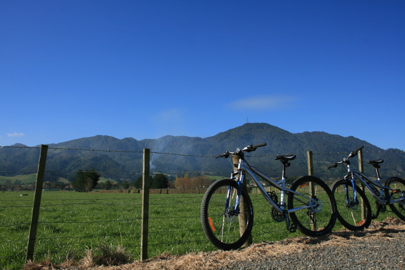 A bicycle rests against a fence as fields stretch away in Te Aroha.