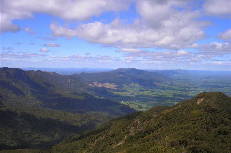The view across farmlands from Mount Te Aroha. Image: Hamilton & Waikato Tourism
