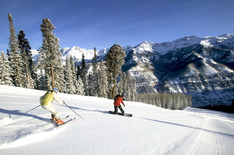 Skiing and boarding at Telluride, Colorado